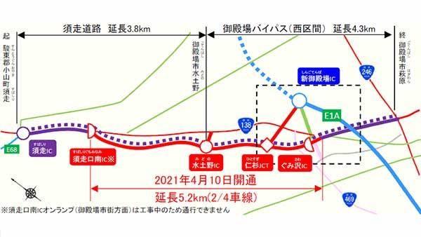 新東名~中央道つながる! 国道138号「御殿場バイパス」「須走道路」4月開通