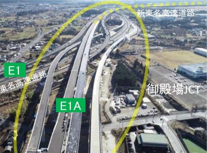 新東名高速道路が御殿場バイパスに連絡します
