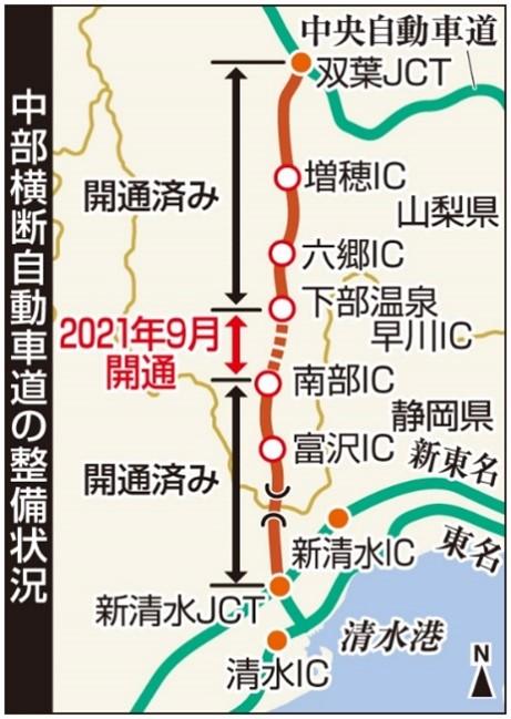 「中部横断道」 9月に全線開通へ 静岡―山梨間